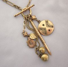 Antique Watch Chain Necklace Victorian Charm by jryendesigns