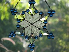 Icy Stained Glass Snowflake by PrismStainedGlass on Etsy, $40.00