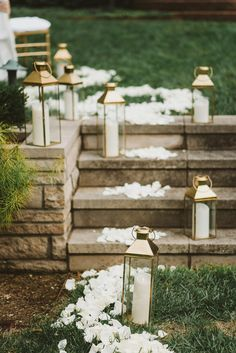 Add lanterns and flower petals for your walk down the isle.