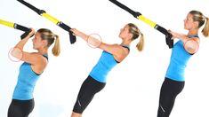TRX Combo Exercises  1. TRX Biceps Curl to TRX Low Row 2. TRX Single Leg Squat to TRX Single Leg Balance Reach  3. TRX Crossing Balance Lunge to TRX Step Side Lunge 4. TRX Burpee to TRX Scorpion 5. TRX Low Row to TRX Triceps Extension  http://www.trxtraining.com/blog/trx-combo-exercises