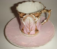 antique RS Prussia Pink Gold Demitasse cup and saucer