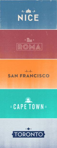 EF International Language Centers typographic logotypes for their 40 destinations, worldwide.