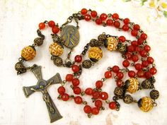 Bronze Heirloom Catholic Rosary Carnelian Gemstone by RachelRode