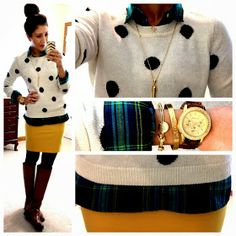 Polka dots, plaid shirt, mustard skirt. Cute winter outfit!