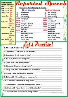 Reported Speech worksheet - Free ESL printable worksheets made by teachers English Teaching Materials, Teaching English Grammar, English Grammar Worksheets, English Language Learning, English Vocabulary, Grammar Rules, Grammar Lessons, English Lessons, Learn English