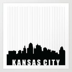 Kansas City Skyline Art Print by Kaitlyn Jane - X-Small Kansas City Skyline, City Skyline Art, City Art, City Apartment Decor, Creative Crafts, Laser Cutting, Design Projects, Tattoo Designs, Football