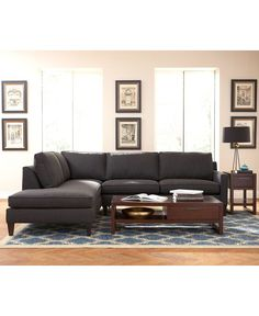 Macy's! Many different colors including what appears to be a burnt orange that's pretty awesome. Also many other colors. And can get with arm on either side. Alanis Fabric Sectional Living Room Furniture Collection - Living Room Furniture - furniture - Macy's