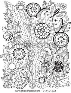 Coloring book for adult. Summer flowers. Vector elements
