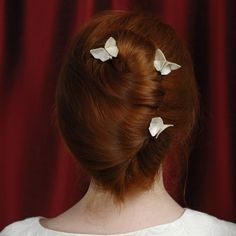 Items similar to Silk Origami Butterfly Hair Pin Custom Updo Decorations Set of 3 White Cream Wedding Bridal Hair Pins White Butterflies SMALL SIZE on Etsy Fabric Butterfly, Origami Butterfly, Butterfly Hair, White Butterfly, Fall Wedding Hairstyles, 2015 Hairstyles, Fabric Origami, Wedding Hair Pins, Wedding Updo