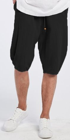 INCERUN Mens Summer Breathable Cotton Linen Solid Color Knee Length Drawstring Casual Shorts is worthwhile and good-looking, mens shorts sales at the lowest prices in one year. Best Mens Pants, Casual Shorts, Casual Outfits, Casual Clothes, Blue Tankini, Harem Pants Men, Gentleman Style, Comfortable Outfits