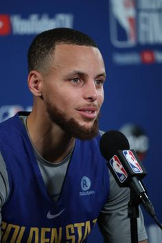 Stephen Curry of the Golden State Warriors speaks to the media during media availability as part of the 2018 NBA Finals on June 2 2018 at ORACLE. Golden State Basketball, Nba Basketball, Stephen Curry Wallpaper, Stephen Curry Pictures, Splash Brothers, Sport Inspiration, Larry Bird, Detroit Pistons, Oklahoma City Thunder