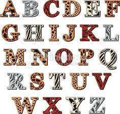 Vector capital letters of the Latin alphabet with animal print resembling the natural pattern of the skin and fur of wild animals, isolated on white Jungle Theme Birthday, Lion King Birthday, Jungle Party, Safari Party, Safari Theme, Alfabeto Animal, Spotted Animals, Safari Animals, Wild Animals