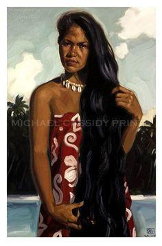 South Pacific Art Prints of Michael Cassidy Original Artwork Polynesian Art, Polynesian Culture, Hawaiian Goddess, Hawaiian Art, Hula Dancers, Hula Girl, Vintage Hawaii, Historical Art, Island Girl