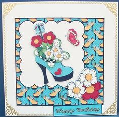 Flower Shoe 6 x 6 card Birthday or Any Occasion on Craftsuprint designed by Margaret Jones - made by Cheryl French - Printed onto glossy photo paper. Attached base image to 8x8 card stock using ds tape. Built up image with 1mm foam pads. Edged card with gold peel offs. - Now available for download!