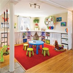 There are lots of playroom ideas you could have for your kids' playroom. When it regards playroom seating, the chances are endless. It is simpler to maintain a playroom organized that is broken up into play areas, or sections. Playroom Design, Playroom Decor, Kids Decor, Playroom Ideas, Basement Bars, Basement Daycare Ideas, Kids Basement, Basement Laundry, Basement Play Area
