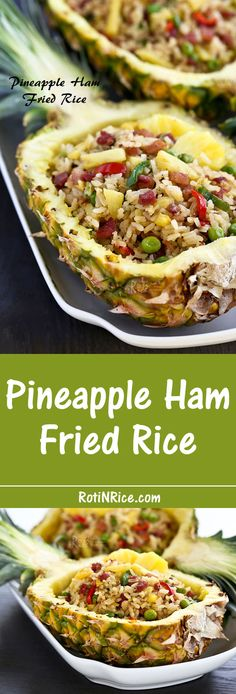 Pineapple Ham Fried Rice with a combination of sweet, salty, and fruity flavors that is sure to please. Serve it in a pineapple boat to wow and impress! | Food to gladden the heart at RotiNRice.com