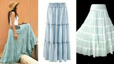 DIY Long flared skirt  how to make long flared skirt step by step tutorial