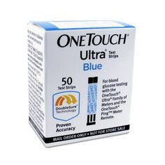One Touch Ultra Blue Mail Order Test Strips, 50 CT One Touch Ultra.Requires only a tiny sample. Automatically draws blood into test strip.
