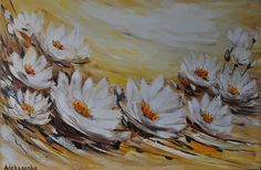 Lilies on the pond. Original oil painting on canvas Oil