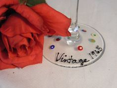 """Items similar to Birthday wine glass """"Vintage birthday- colorful polka dots and swirls - any vintage year available on Etsy 50th Birthday Gifts, 50th Birthday Party, Mom Birthday, Weird Gifts, Unusual Gifts, Cool Gifts, Creative Birthday Ideas, Birthday Ideas For Her, Decorated Wine Glasses"""
