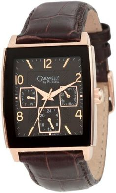 Caravelle by Bulova Men's 44C101 Multifunction leather strap Watch Caravelle by Bulova. $119.98. Quartz movement. Brown dial. Water resistant to 30 meters. Leather strap. Curved mineral crystal