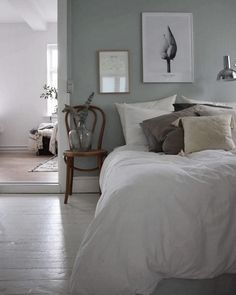 my scandinavian home: Pale green and white bedroom in the calm Danish home of Emilie Schwartzlose