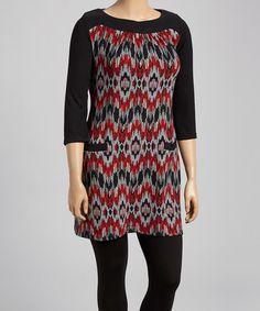 810cd2ab765 Black  amp  Red Ikat Sweater Dress - Plus