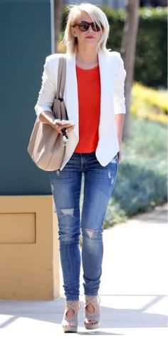 Cute combo white blazer and red tank with espadrille wedges.