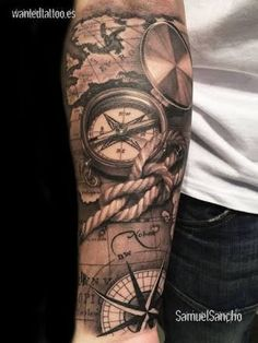 What does pirate tattoo mean? We have pirate tattoo ideas, designs, symbolism and we explain the meaning behind the tattoo. Map Tattoos, Body Art Tattoos, Sleeve Tattoos, Tatoos, Pirate Tattoo Sleeve, Tattoo Sleeves, Anchor Tattoos, Arrow Tattoos, Cool Forearm Tattoos