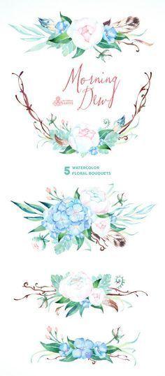 Morgentau 5 Aquarell Blumenstrausse Hochzeit Einladung Blumen