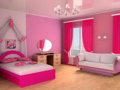 pink painted room