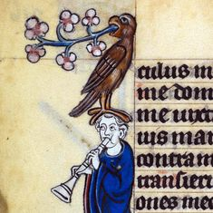 bird throwing up flowers'The Maastricht Hours', Liège 14th centuryBritish Library, Stowe 17, fol. 216v