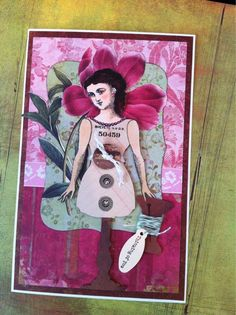 Card by Barbara Smith working with art stamps from Character Constructions, Beekeeper's Tea collection.