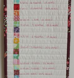 Emily from The Student/Teacher has a tutorial for this sweet embroidered version of a growth chart over on The Long Thread. The quilt version of this traditional record of your child's growth would...