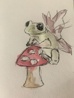 Fairy frog watercolour painting