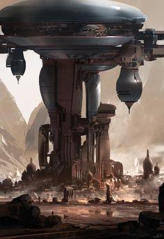 "spassundspiele:  Halo 5 concept art by Nicolas ""Sparth"" Bouvier Science Fiction Art, Fantasy City, Sci Fi Fantasy, Space Fantasy, Fantasy Places, Futuristic City, Futuristic Architecture, Gaia, Cyberpunk"