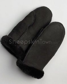 Women's Black Alaska Sheepskin Mittens