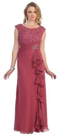Long Plus Size Mother of the Bride Dress Formal Gown - The Dress Outlet - 1