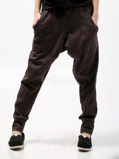 Casual Brown Cotton Harem Pants For Men