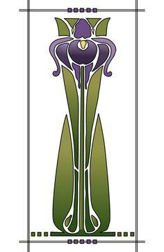 Art Nouveau style iris