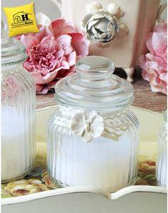 Candela in barattolo di vetro shabby chic decorazione orchidea EDG Altezza 15 cm