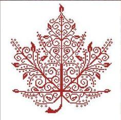 Maple Leaf cross stitch chart monochrome AAN Alessandra Adelaide Needleworks $16.75