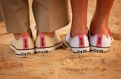 "Custom ""Bride & Groom"" Converse on the beach in Grand Cayman #Weddings shot by Jim Gates"