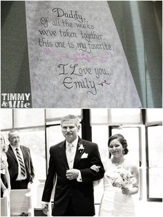 AMAZING. Printing a letter to the runner that the dad doesn't know about/read til he's walking her down the aisle...LOVE IT!