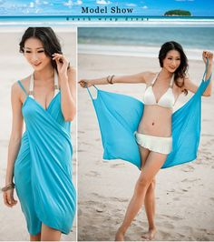 siyah beyaz yeşil mavi Pareo Backless plaj kıyafeti şal elbiseler bikini kapak…