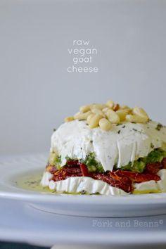 "Raw Vegan ""Goat"" Cheese Dip For Nut Cheese: c. raw cashews, soaked for hours, drained juice of lemon c. water 1 Tb coconut oil 1 tsp raw apple cider vinegar pinch of salt For Basil Pesto: 1 c. basil leaves 2 garlic cloves c. Vegan Cheese Recipes, Raw Vegan Recipes, Vegan Foods, Vegan Dishes, Vegetarian Recipes, Healthy Recipes, Paleo, Vegan Cru, Roh Vegan"