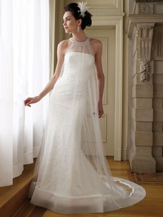 beautiful strapless antique cage sheath wedding dress with halter high neck  $301