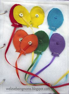 Matching colors quiet book - OR - teach your kids what sperm look like in bright colors!