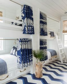 blue white patterned bunk room