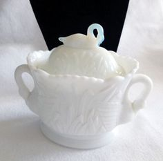 Vintage Westmoreland Milk Glass Swan Cattails Late Swan Glass Sugar Candy Dish | eBay